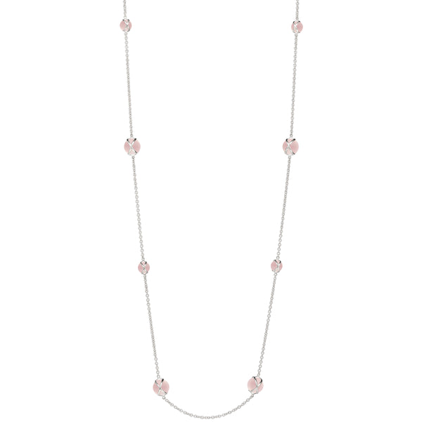 "PRISMA ROSE QUARTZ 37"" NECKLACE - 18K WHITE GOLD"