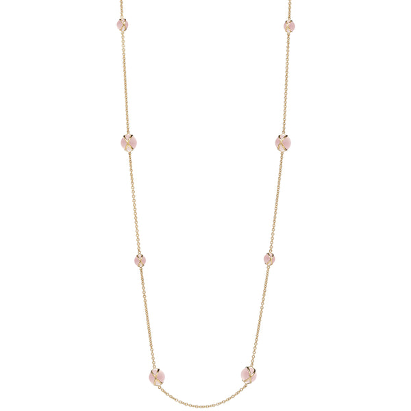 "PRISMA ROSE QUARTZ 37"" NECKLACE - 18K YELLOW GOLD"