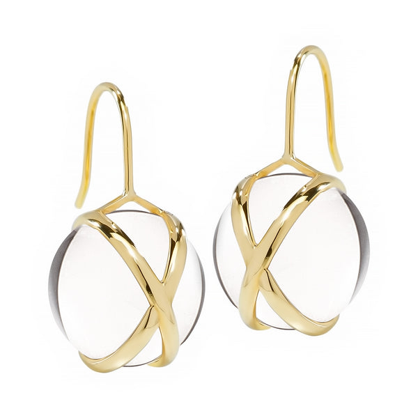 PRISMA CRYSTAL QUARTZ MEDIUM EARRINGS - 18K YELLOW GOLD