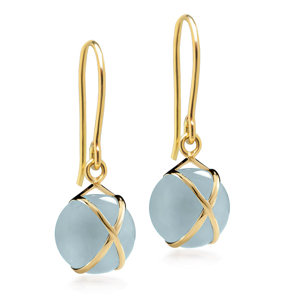 PRISMA AQUAMARINE SMALL EARRINGS - 18K YELLOW GOLD