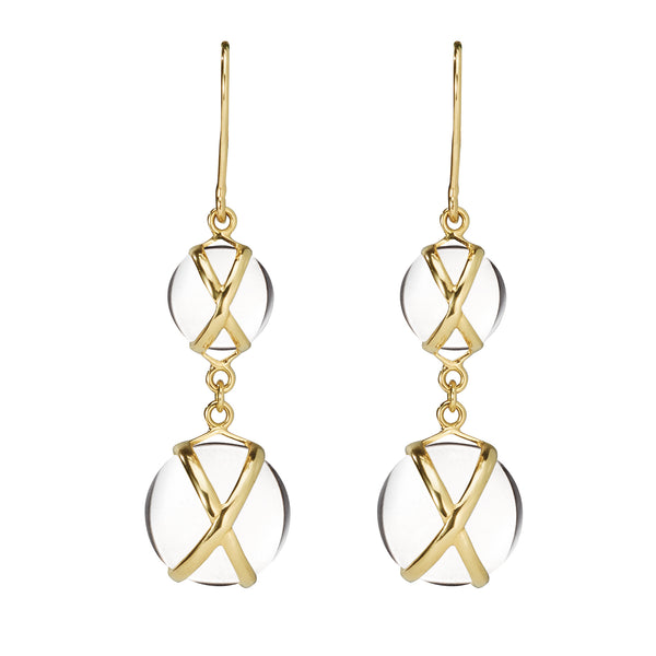 PRISMA CRYSTAL QUARTZ DOUBLE EARRINGS - 18K YELLOW GOLD