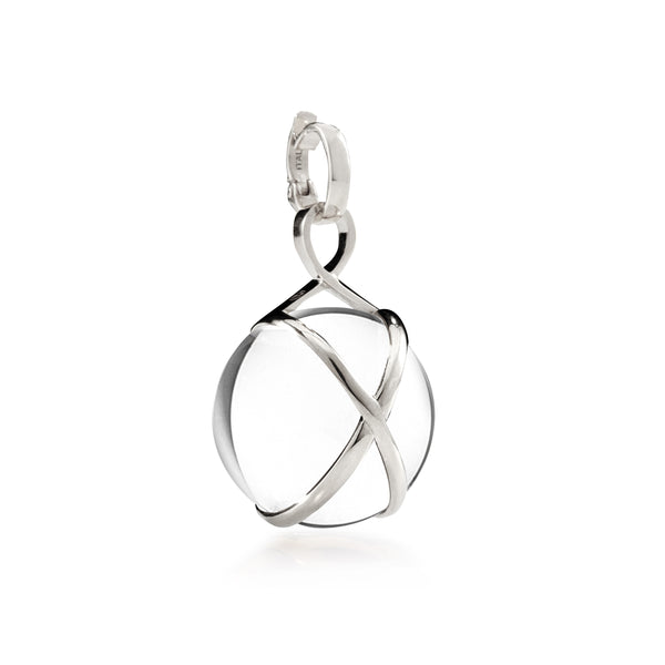 PRISMA CRYSTAL QUARTZ LARGE PENDANT - 18K WHITE GOLD