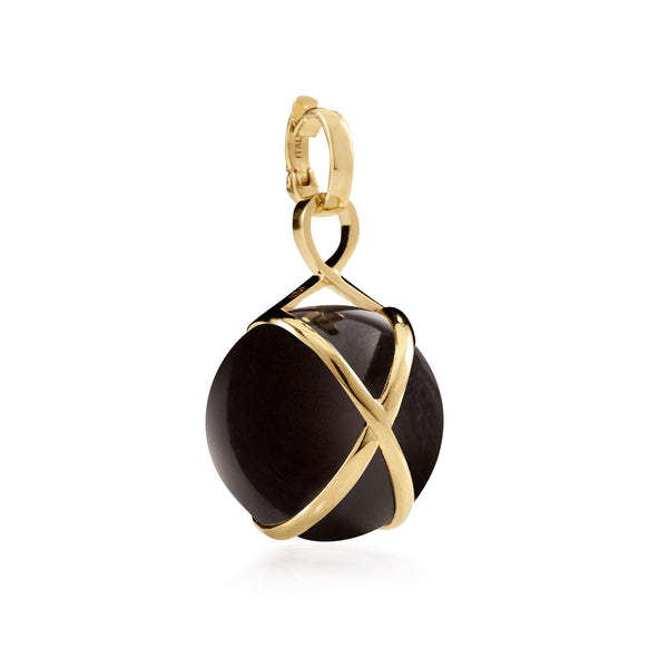PRISMA BLACK AGATE LARGE PENDANT - 18K YELLOW GOLD