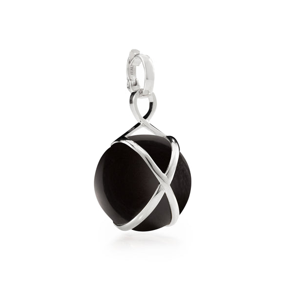 PRISMA BLACK AGATE LARGE PENDANT - 18K WHITE GOLD