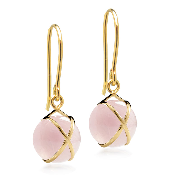 PRISMA ROSE QUARTZ SMALL EARRINGS - 18K YELLOW GOLD