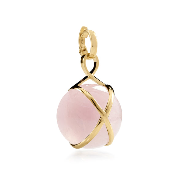 PRISMA ROSE QUARTZ MEDIUM PENDANT - 18K YELLOW GOLD