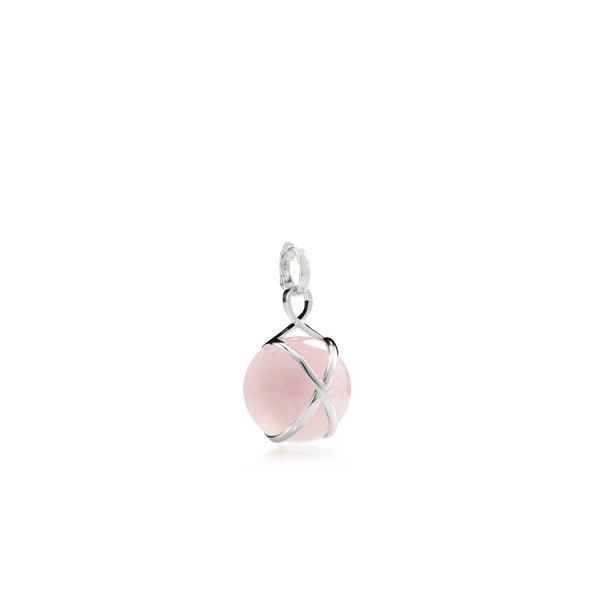 PRISMA ROSE QUARTZ SMALL PENDANT - 18K WHITE GOLD