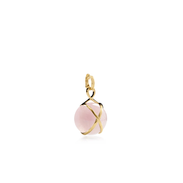 PRISMA ROSE QUARTZ SMALL PENDANT - 18K YELLOW GOLD