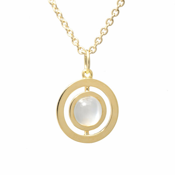 ANELLO CLASSIC CHAIN NECKLACE with MOONSTONE - 18K YELLOW GOLD
