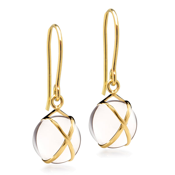 PRISMA CRYSTAL QUARTZ SMALL EARRINGS - 18K YELLOW GOLD