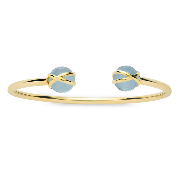 PRISMA AQUAMARINE DOUBLE BANGLE - 18K YELLOW GOLD
