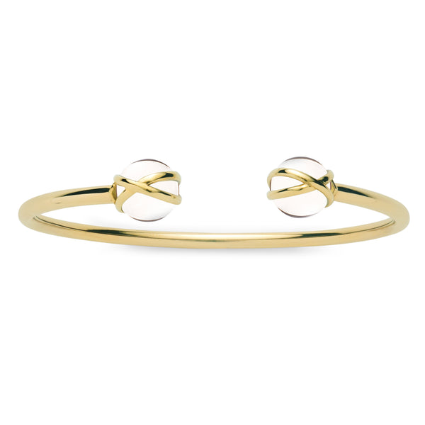 PRISMA CRYSTAL QUARTZ DOUBLE BANGLE - 18K YELLOW GOLD