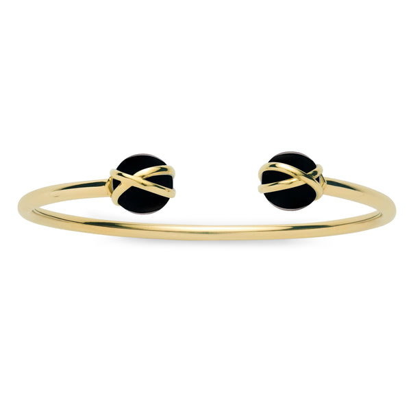 PRISMA BLACK AGATE DOUBLE BANGLE - 18K YELLOW GOLD