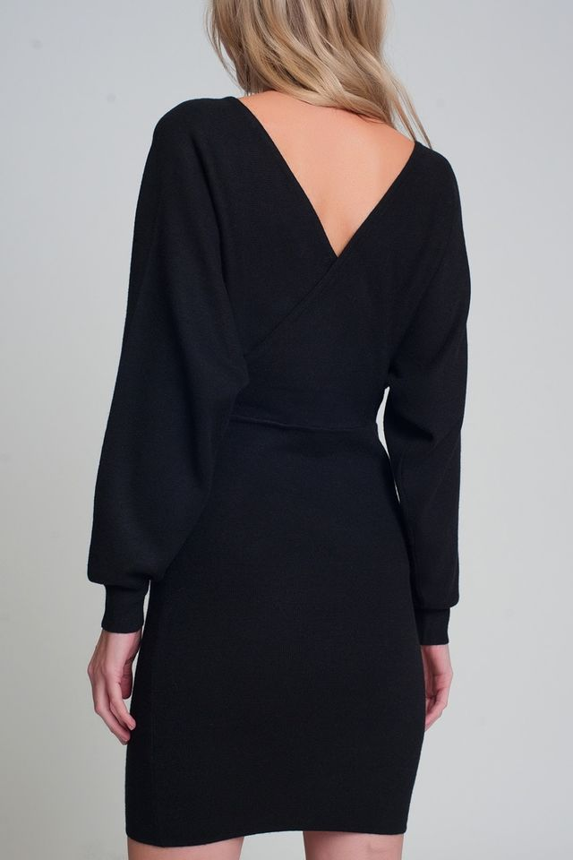 VESTIDO V NECK KNITTED BLACK DRESS WITH VOLUME SLEEVE