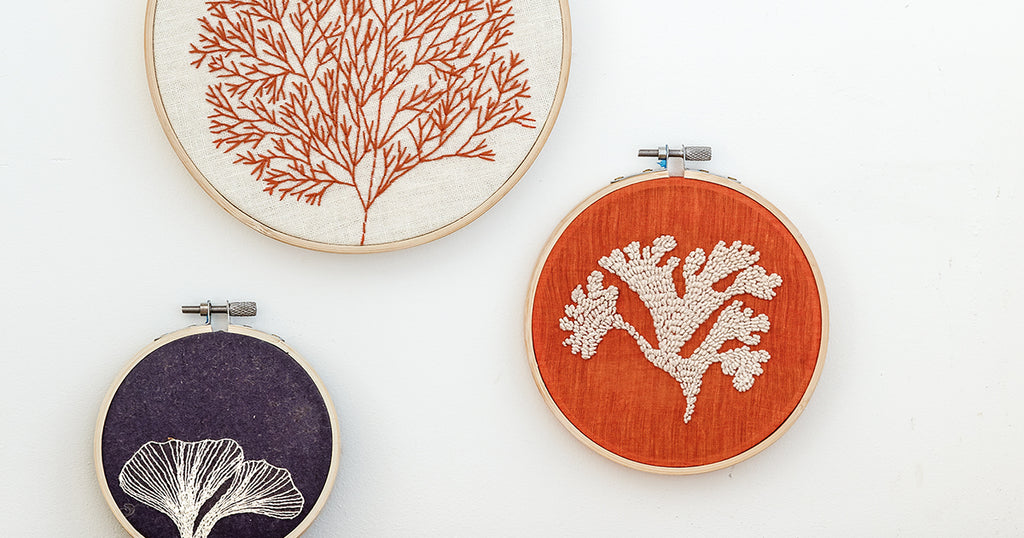 Coral-Inspired Embroidery Hoops