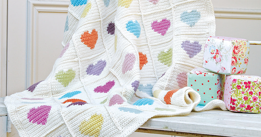 Sweetheart crocheted baby blanket