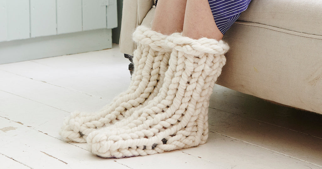 Chunky Knit Slipper Socks