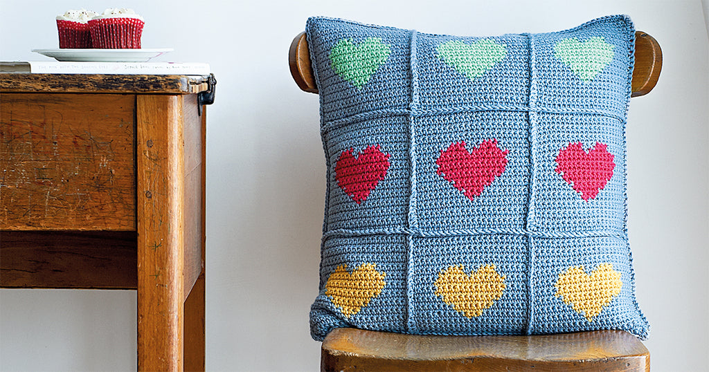 Intarsia Crocheted Heart Cushion
