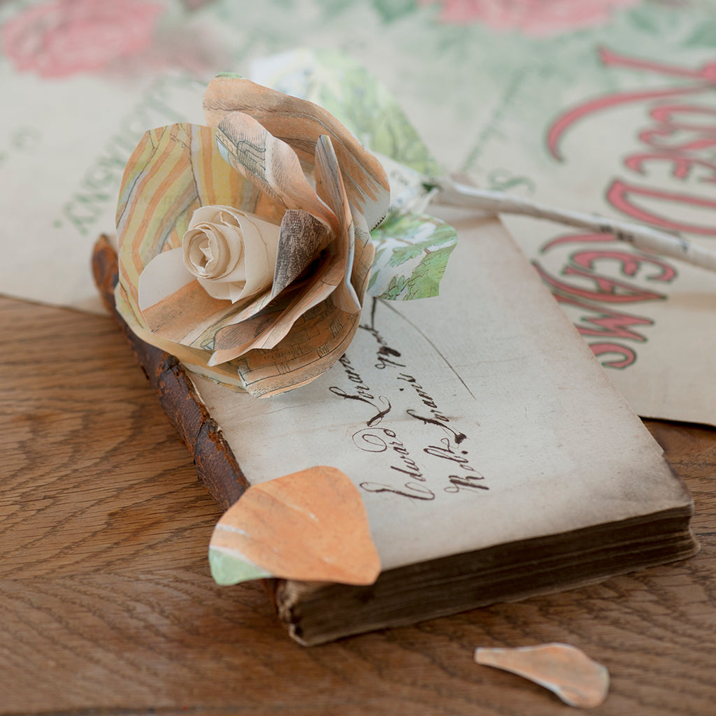 book art paper rose