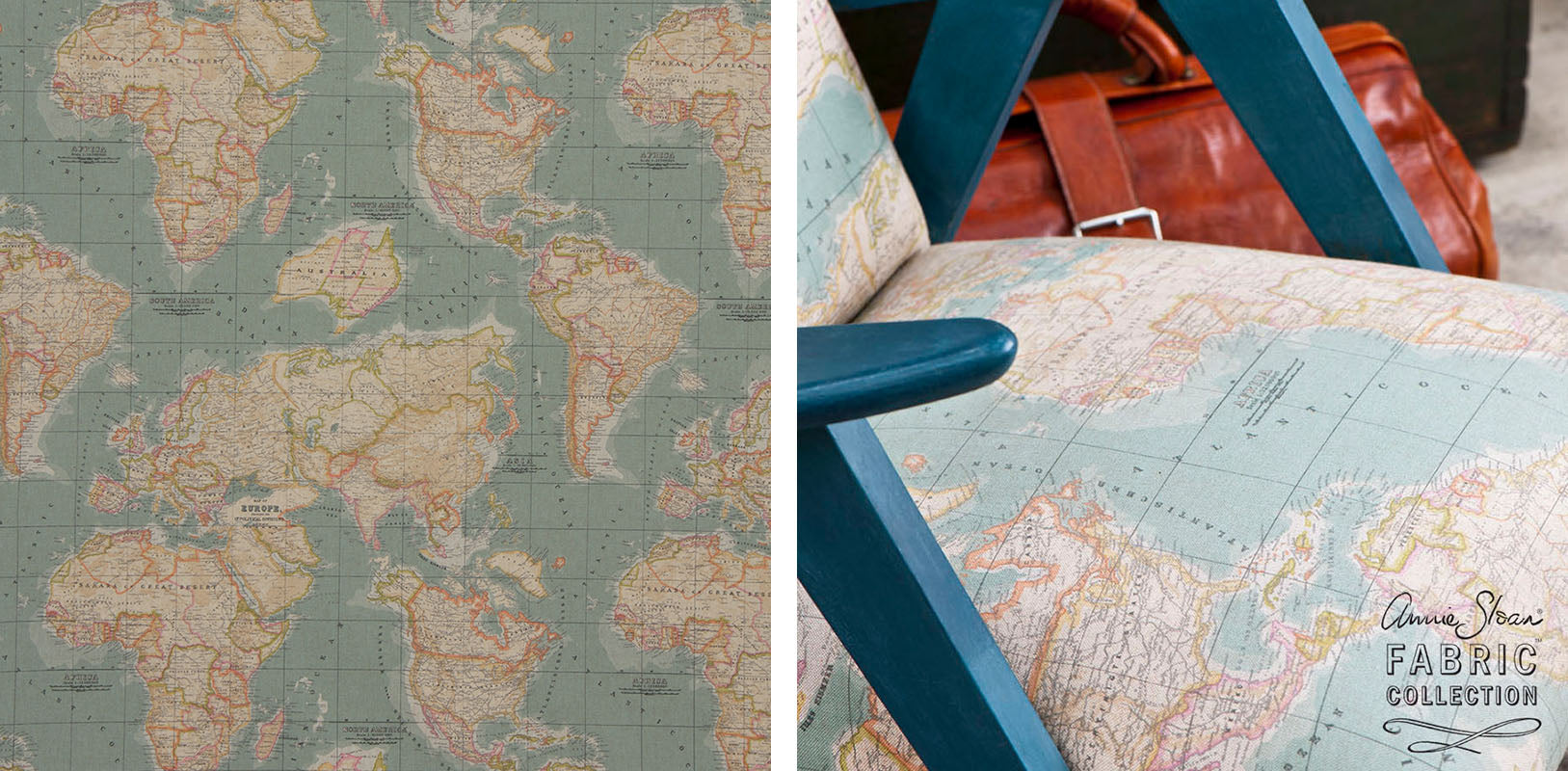 Top 10 gift ideas for crafters makeetc vintage world map fabric from annie sloan gumiabroncs Gallery