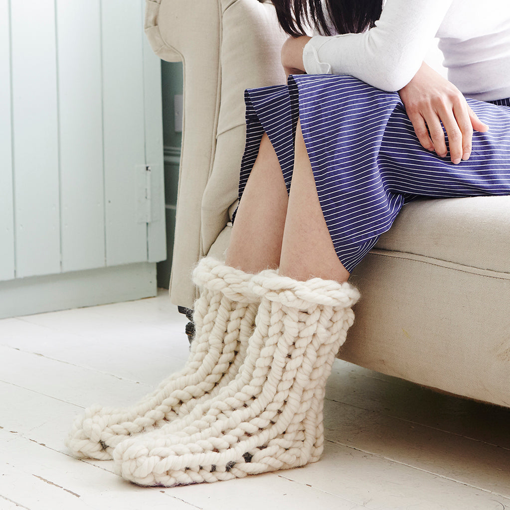 Super chunky knitted slipper socks