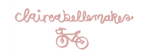 ClaireabelleMakes Craft Blog logo with bicycle illustrations
