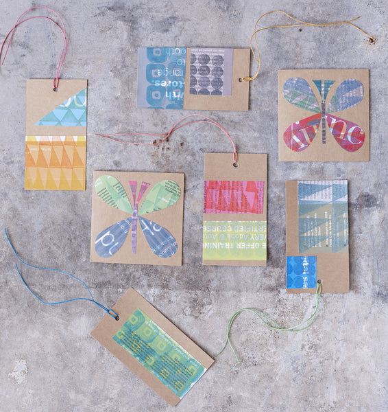 Collage Butterfly Gift Tags