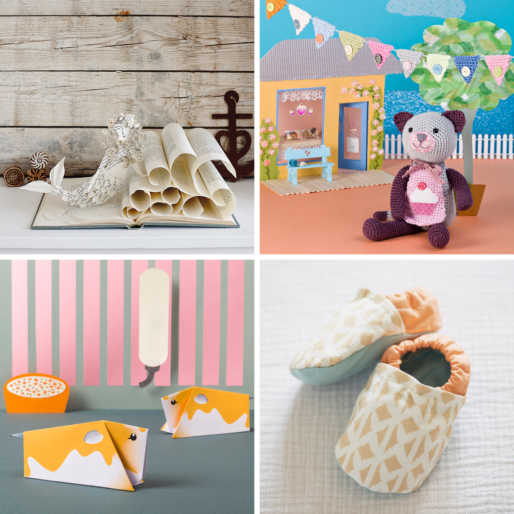 Four craft images origami, sewing, paper craft and crochet