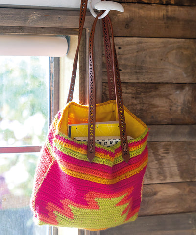 Croched aztec colourful tote bag