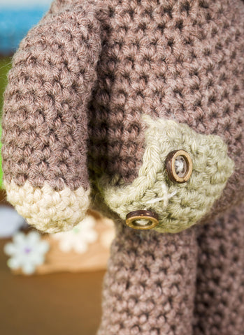 Brindley Bear Crochet Pocket close up