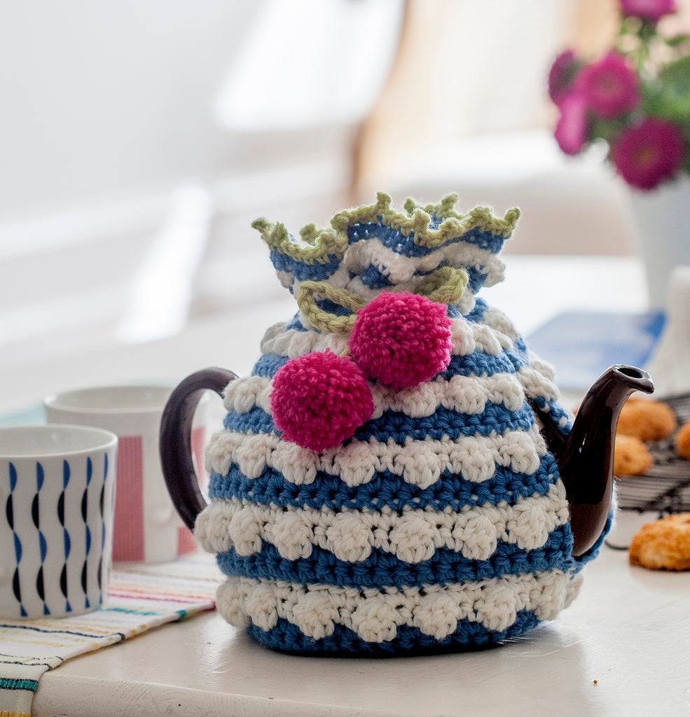 Crocheted tea cosy in the kitchen by Nicki Trench