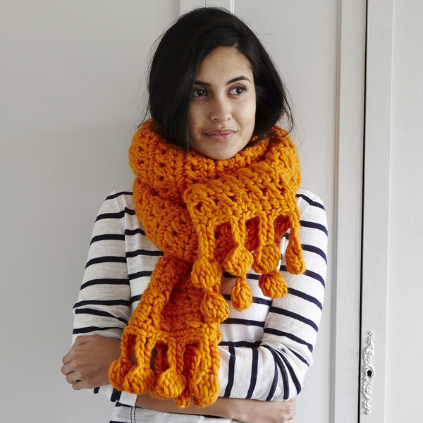 Cross Treble Crochet Scarf in Marmalade Mrs Moon Plump Yarn