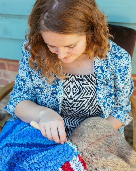 Elspeth Jackson demonstrates how to rag rug