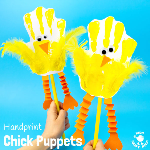Handprint Chick Puppets Kids Craft Room