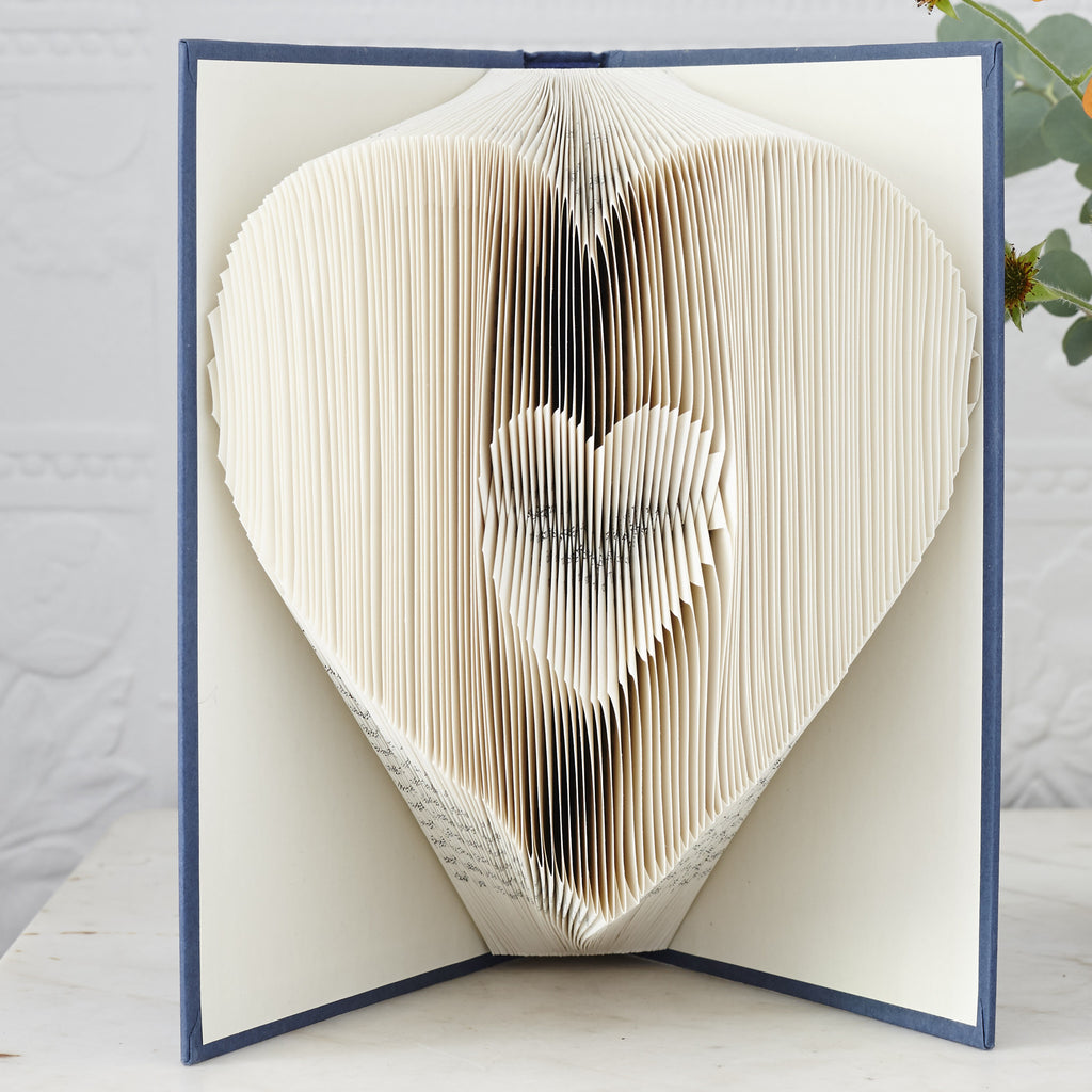 Heart shaped book art sculpture