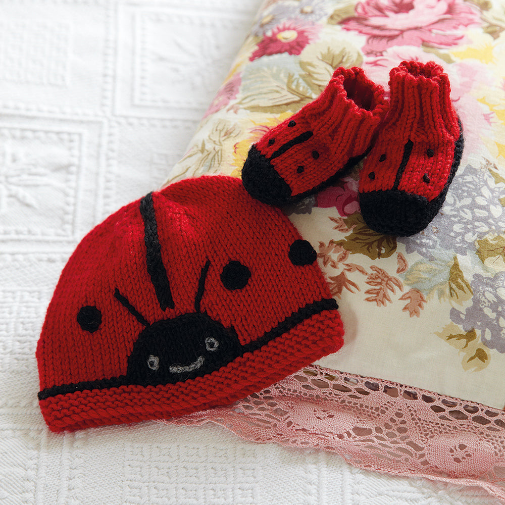 Knitted Animal hat and bootees ladybug
