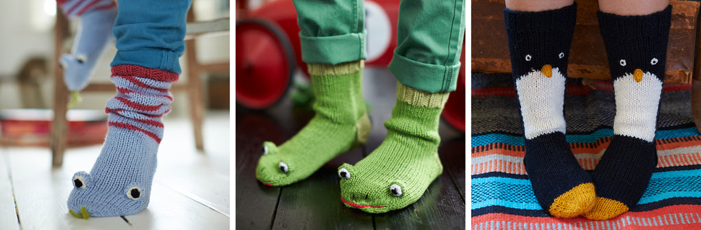 Knitted animal socks by Fiona Goble