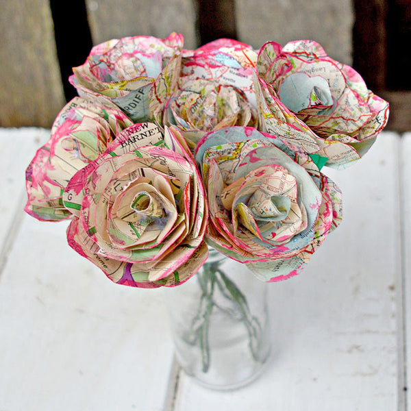 Mother's Day Map Paper Roses