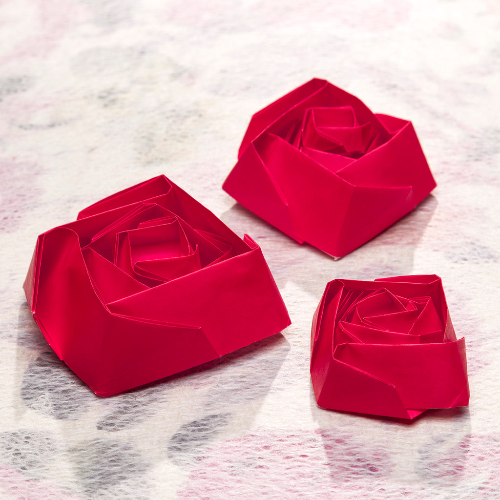 Origami red rose in three sizes