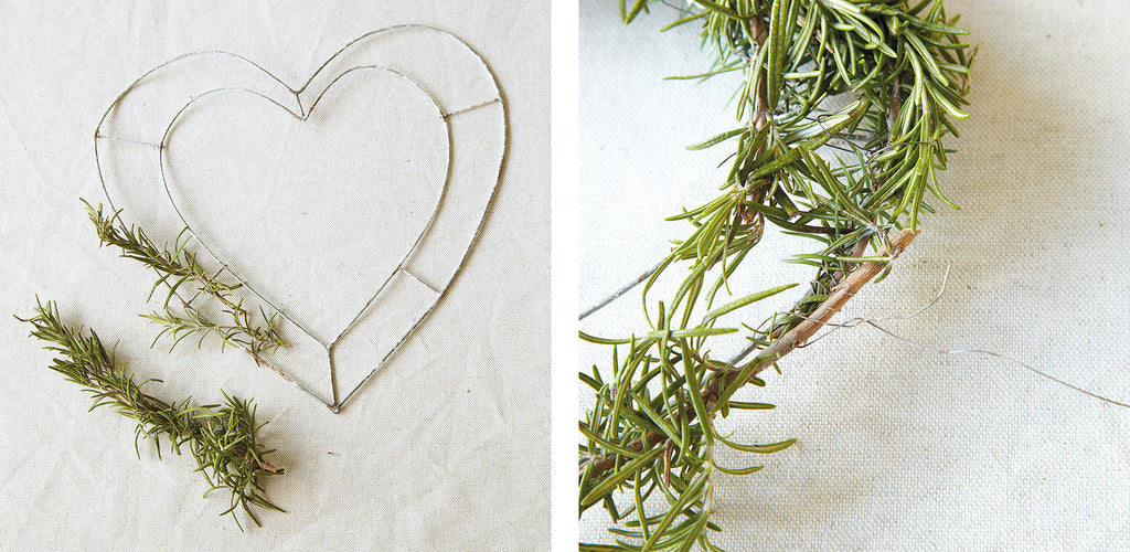 Rosemary heart wreath project steps 1 and 2