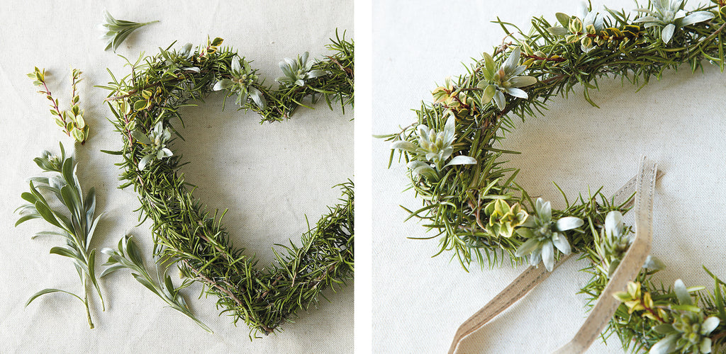 Rosemary heart wreath project steps 3 and 4