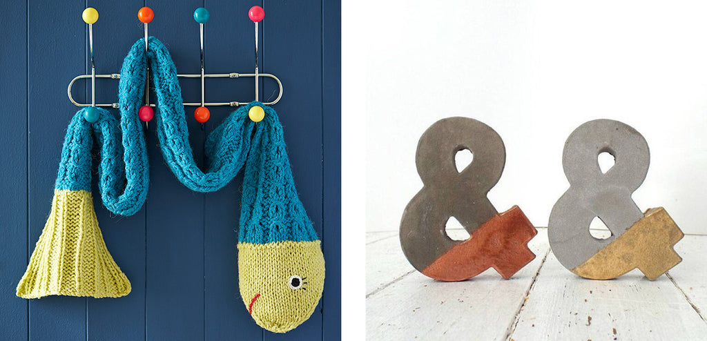 Snake scarf and concrete ampersand craft ideas