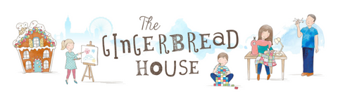 The Gingerbread House Logo with watercolour family illustration