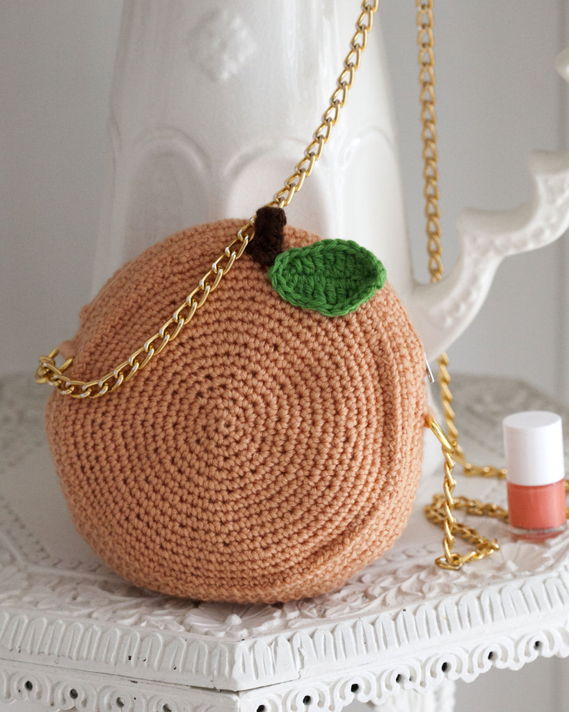 Crocheted Peach bag