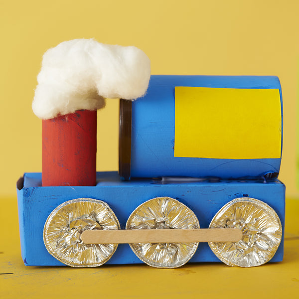 blue cardboard painted train
