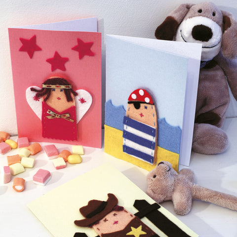 Finger puppet cowboy, pirate and fairy cards