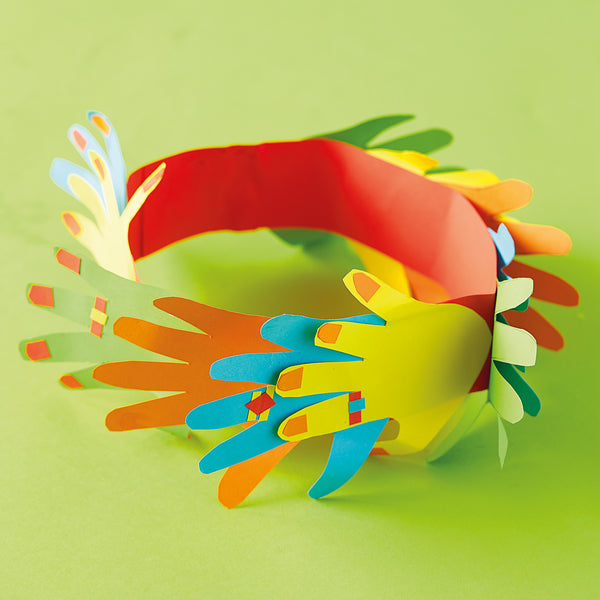 colourful paper hand cut out headband
