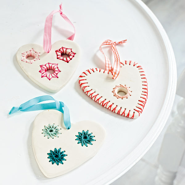 string crafted christmas heart decorations