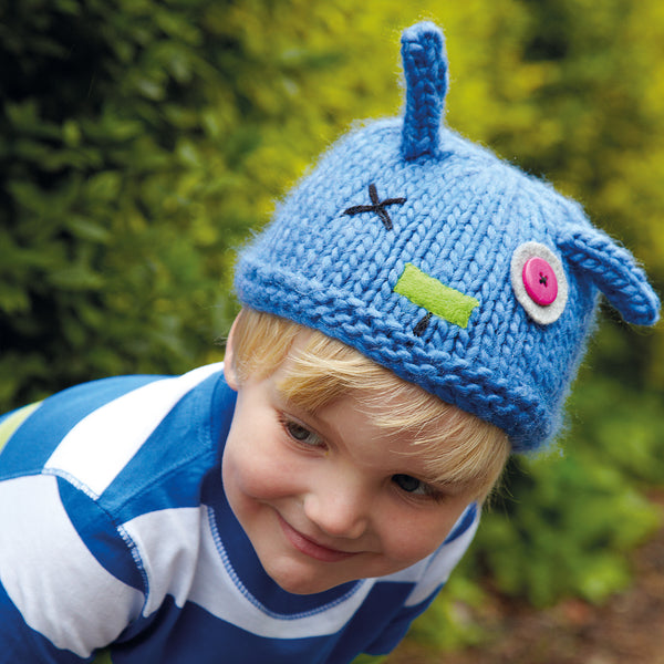 knitted blue child animal hat