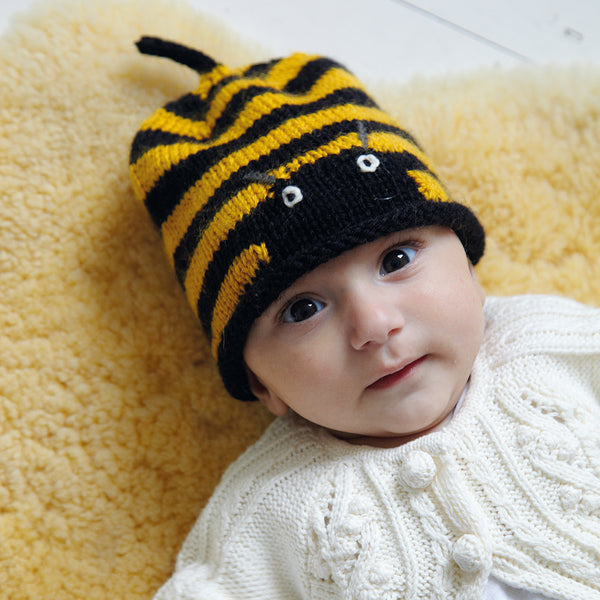 knitted striped bumblebee baby hat